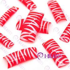 50psc Acrylic False French Nail Art Full Tips Red Base White Zebra-Stripe