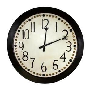 Oversize-Classic-Retro-Round-Wall-Clock-45-in-Riveted-Brown-Black-Cream-Gold