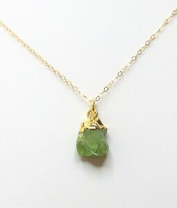 Peridot-Pendant-14kt-Gold-Filled-Raw-Natural-Stone-Dainty-Minimalist-Necklace