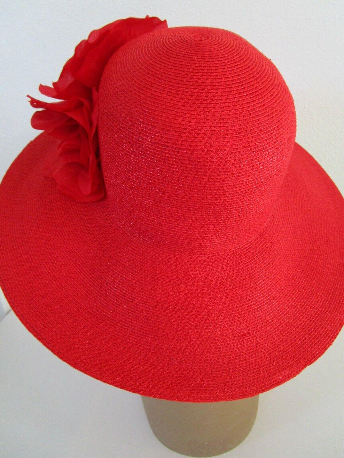 Patricia Underwood Red Wide Brim Hat Silk Flower … - image 5