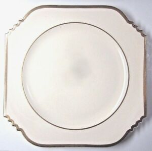 Leigh-Ware-Potters-Turnbull-Porcelain-China-Dinner-Plate-9-3-8-034-Deco-Gold-Trim