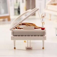 Piano Jewellery Gift Music Box with danceing Ballerina Romantic Gift White