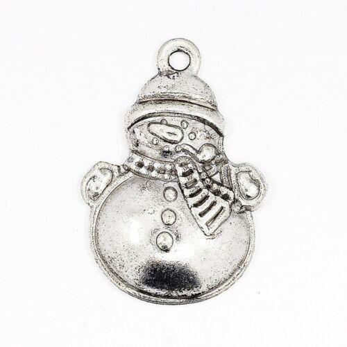 5 x Tibetan Silver Snowman Christmas Pendant Charms Xmas 25mm
