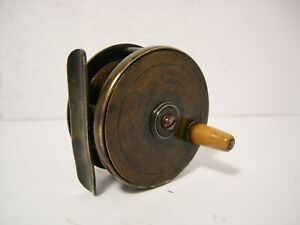 Vintage-Antique-2-1-2-034-Brass-Platewind-Fly-Fishing-Reel