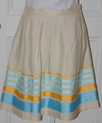 """Clothing, Shoes & Accessories Women's Clothing J Mclaughlin Nwt Cream """"casino"""" Skirt 100% Silk W/grosgrain Stripe Detail Sz 4 To Be Highly Praised And Appreciated By The Consuming Public"""
