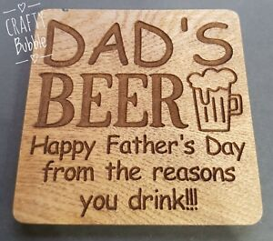 DAD-039-S-BEER-LASER-ENGRAVED-COASTER-FATHERS-DAY-GIFT-WOODEN