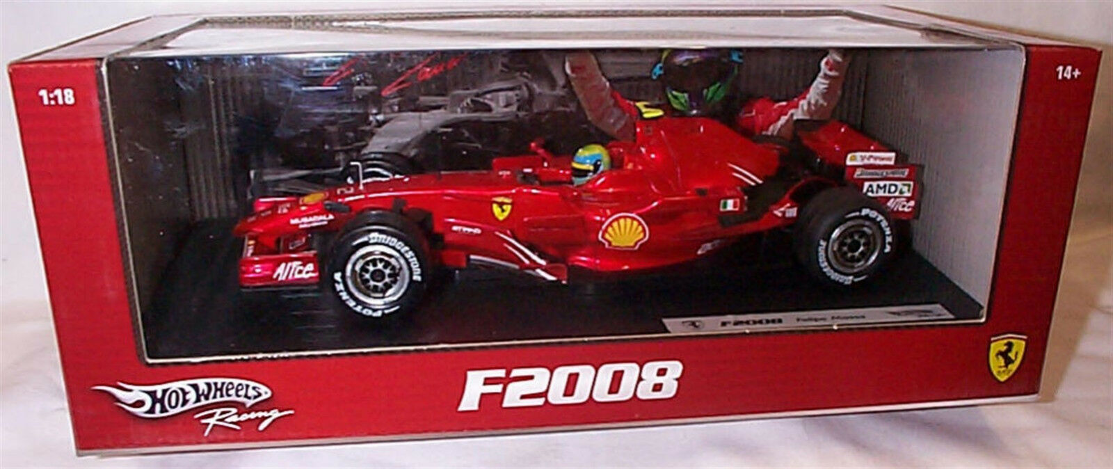 Hot Wheels 1 18 Scale Diecast-M0549 Ferrari F2008 Felipe Massa