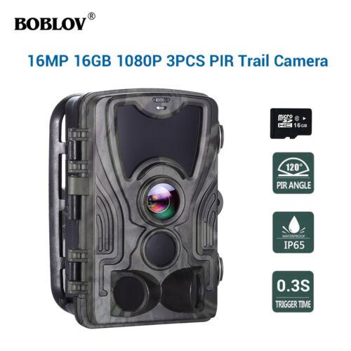 HC801A HD 16MP 16GB Trail Scouting cámara de visión nocturna Cámara de caza de 120 grados
