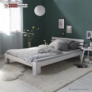 Doppelbett Holzbett Futonbett 160x200 Weiss Kiefer Bett Bettgestell