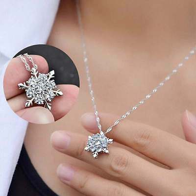 Vintage Lady Crystal Snowflake Frozen Silver Plated Necklace Charm Pendant DIY