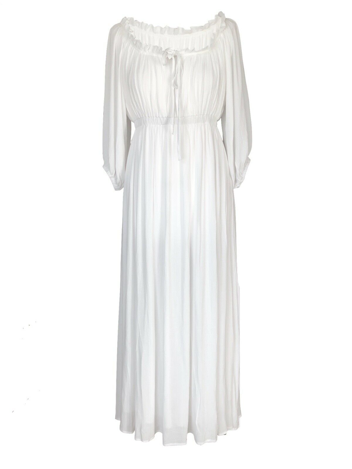 Off Weiß lungo Boho Peasant Jane Austen Regency Gypsy Maxi Wedding Pirate Kleid