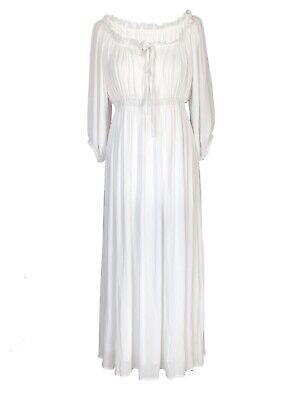 DemüTigen Off White Long Boho Peasant Regency Gypsy Vintage Maxi Wedding Pirate Dress
