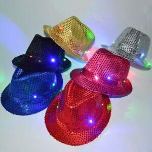 Light-Up-Led-Fedora-Trilby-Sequin-Unisex-Fancy-Dress-Dance-Hat-Party-G1A4