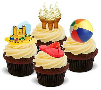 BEACH BALL Holiday Fun 12 Edible Standup Premium Wafer Cake Toppers