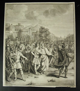 Antique-Print-Ap-Louis-Fabricius-Dubourg-1693-1775-Scene-of-Battle-c1750