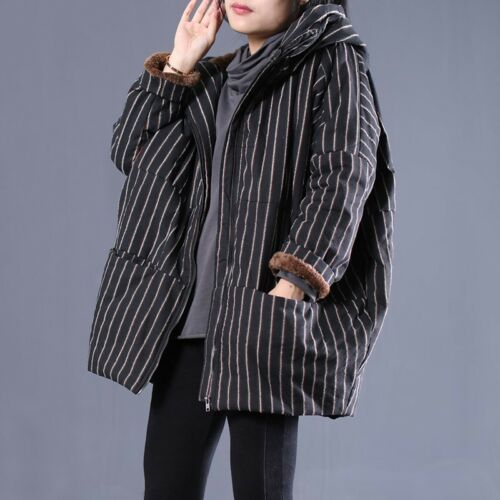 Capispalla Cotton Striped Casual Allentato Thick X83 Hooded Coat Winter Womens Jacket FSnxw866