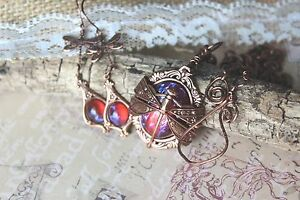 Dragonfly Necklace Amp Earrings Set Fire Opal Copper Free Us
