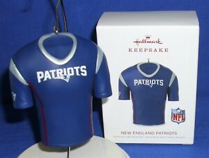 new product c3899 6f095 Details about Hallmark Christmas Ornament New England Patriots 2018 NFL  Football Jersey NIB