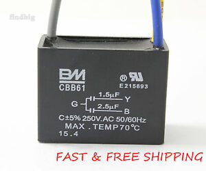 Details about Electric Machine Capacitor CBB61 1 5uf+2 5uf 3 Wire Motor  Ceiling Fan