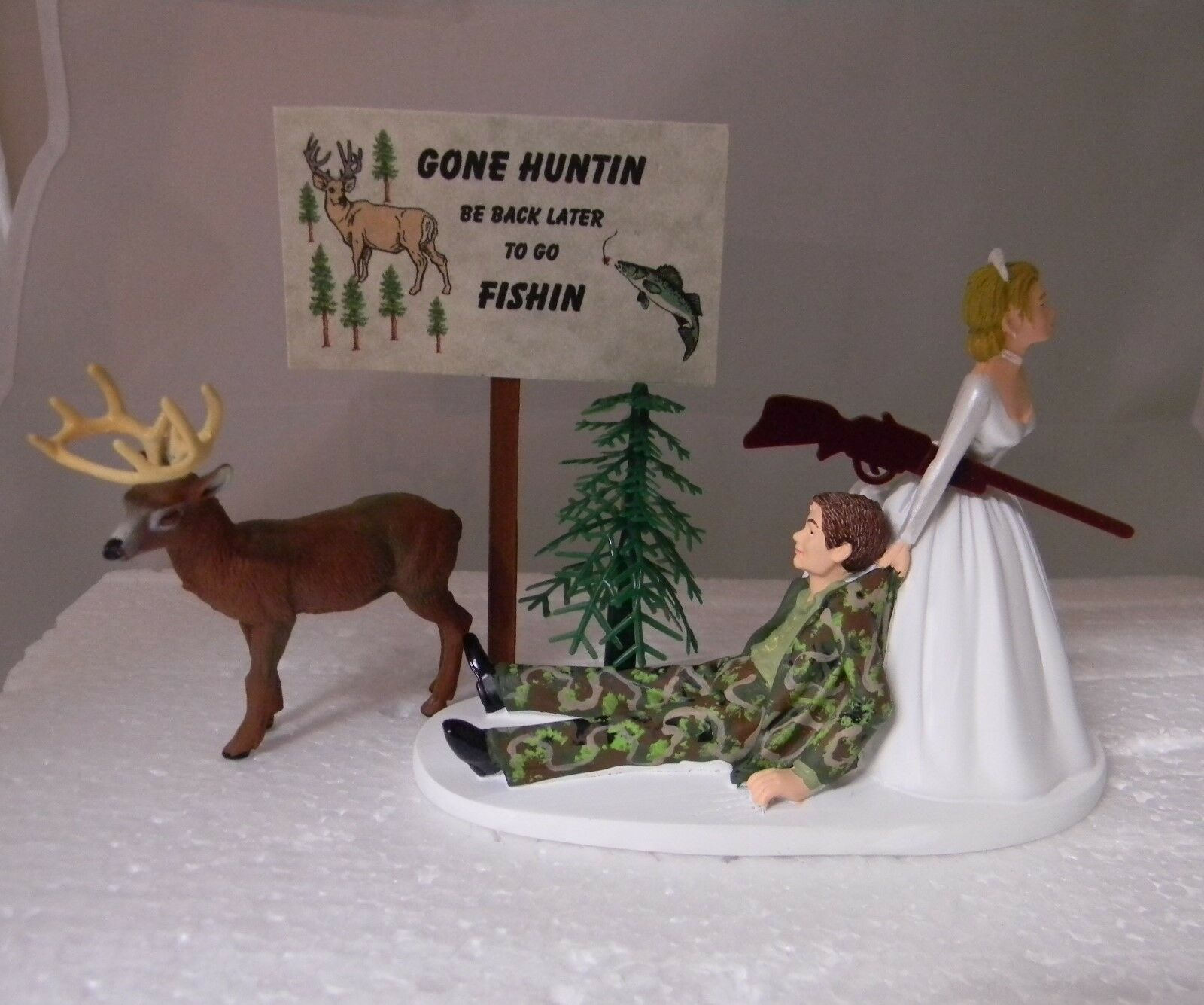 Réception de Mariage Parti Camo Groom Deer Hunter Chasse Signe cake topper