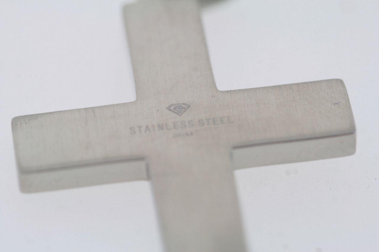 Acciaio Inox .03ct Diamante Naturale Croce 1   x x x 3.8cm Ciondolo a137d4