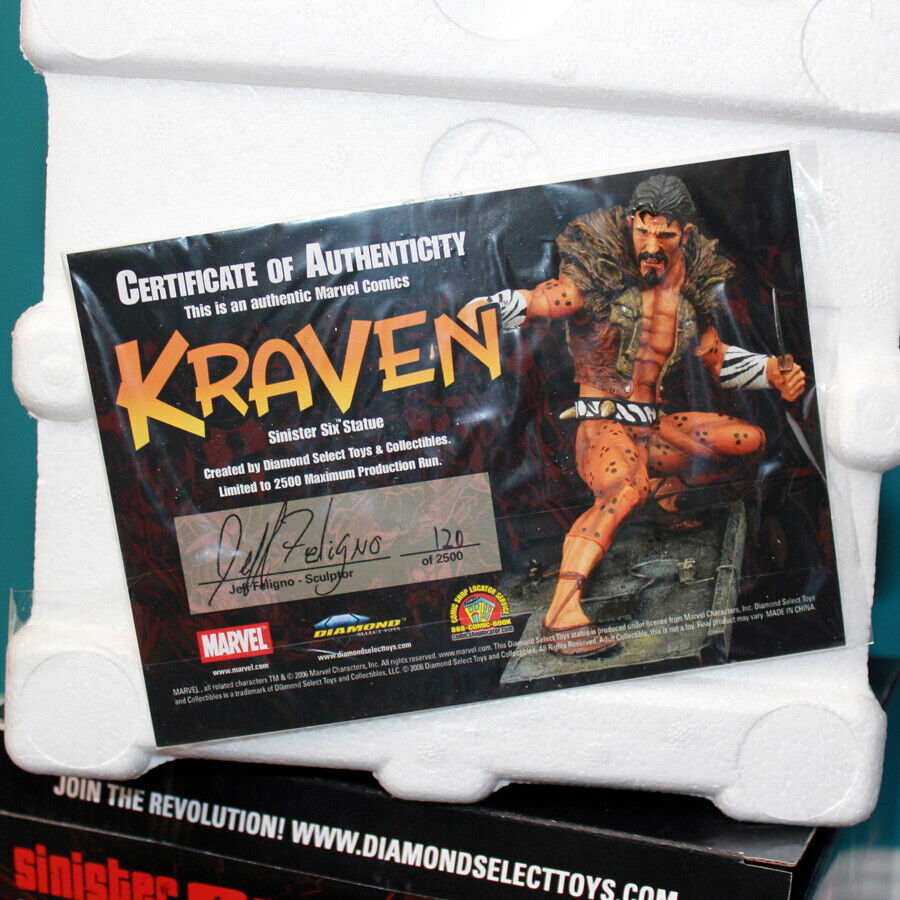 Sinister Six Kraven MARVEL 120 2500 Jeff Feligno Feligno Feligno Excellent NEW IN BOX 11d75f