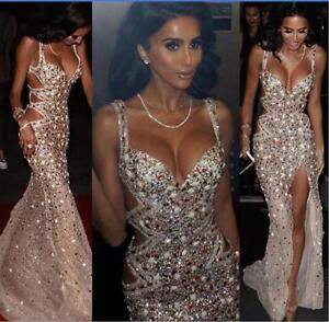 35680f1bc2726 Image is loading Luxury-Crystals-Beaded-Mermaid-Evening-Birthday-Party-Dress -