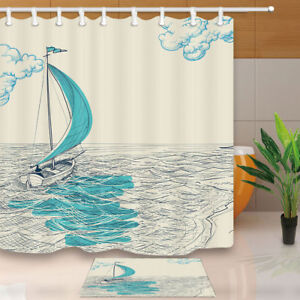 Image Is Loading A Boat On Sea Hand Painted Bathroom Fabric
