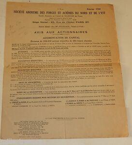 Avis-aux-Actionnaires-Fevrier-1944-FORGES-et-ACIERIES-du-NORD-et-de-l-039-EST