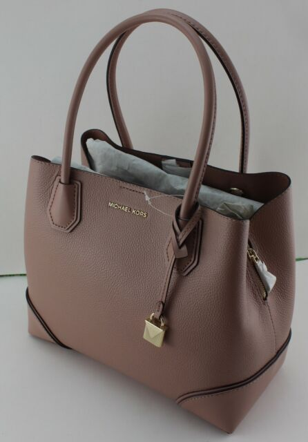 With Tags Michael Kors Mercer Gallery Mid Center Zip Leather Pebbled Tote