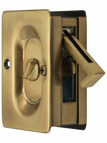 Antique Brass Emtek Pocket Door Privacy Lock Set
