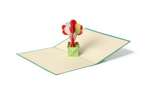 3-D Pop Up Grußkarte Geburtstag Ballons Geldgeschenk Handmade 10x17cm