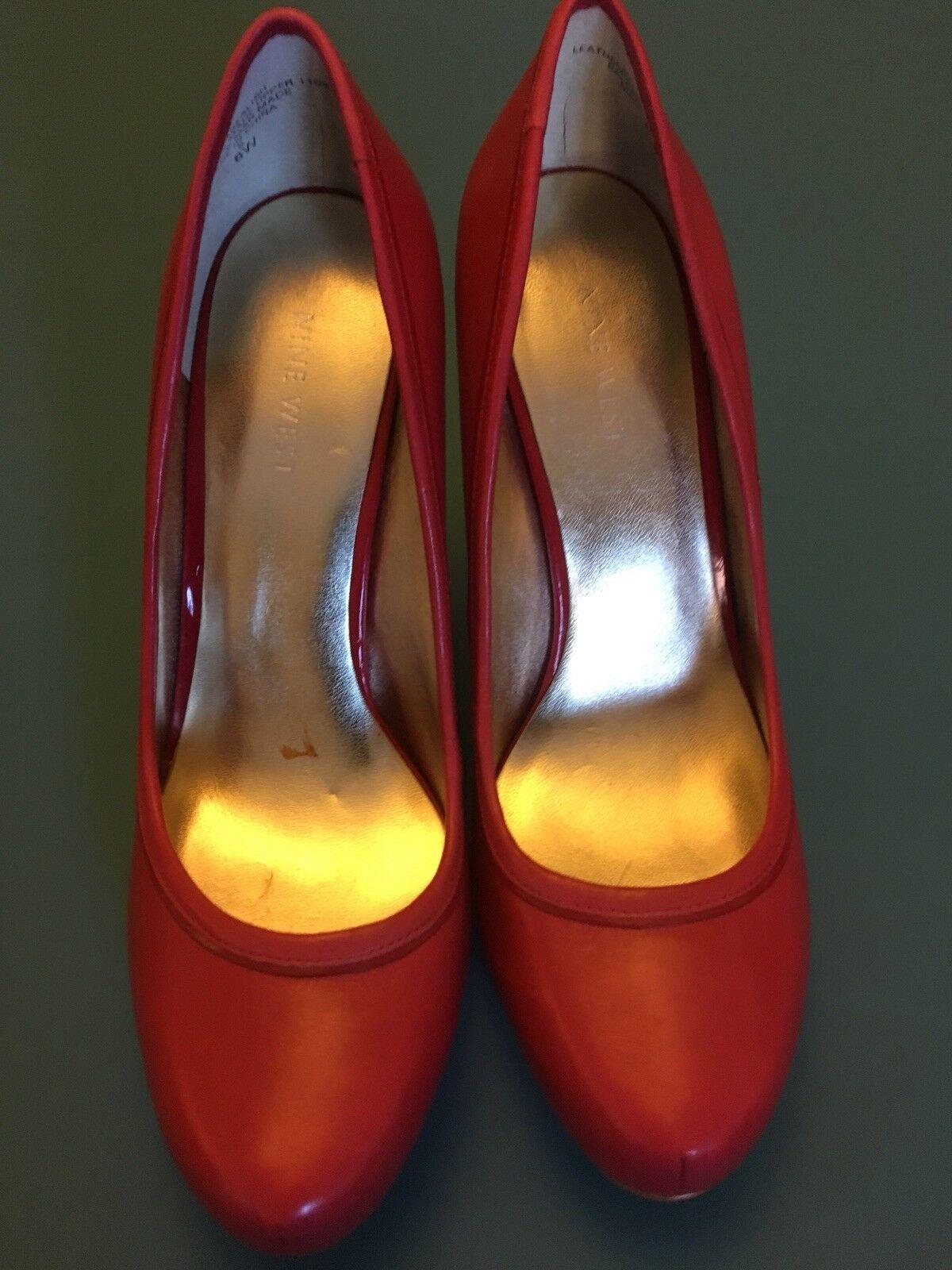 Nine West Rojo babealish ajuste ancho de cuero para mujer zapatos