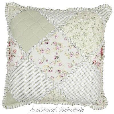 CLAYRE & EEF Kissen-Hülle 50x50 BREE Patchwork Quilt Rosen grün Shabby q021.031