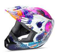 Fly Kinetic Invasion Youth Motorcycle Helmet Pink Mx Atv Utv Bmx Free Ship