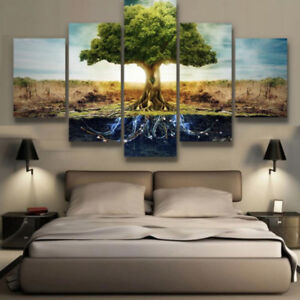 351506568 Large Framed Tree of Life Nature Canvas Print Wall Art Home 5 Piece ...