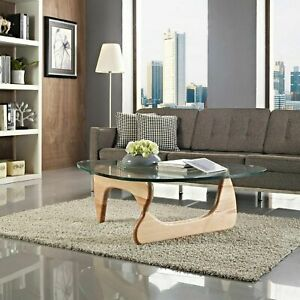 Noguchi Coffee Table Replica High Quality Reproduction Glass Top Wood Natural Ebay