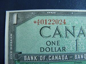 1954-Canada-1-Dollar-Replacement-Bank-Note-AA0122024-AU-UNC-Cond-20-357