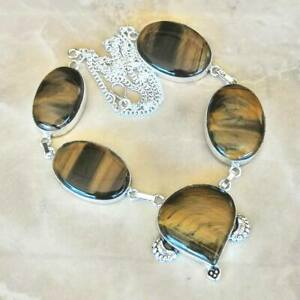 Handmade-Dorado-de-Tigre-Ojo-Piedra-Preciosa-Plata-de-Ley-925-Collar-20-034-N01854