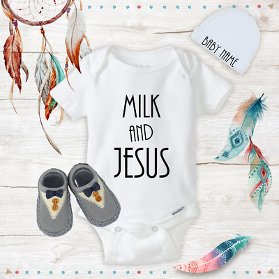 Funny Milk /& Jesus Baby Boy Clothes Onesies Name Hat Shoes Baby Gift Newborn