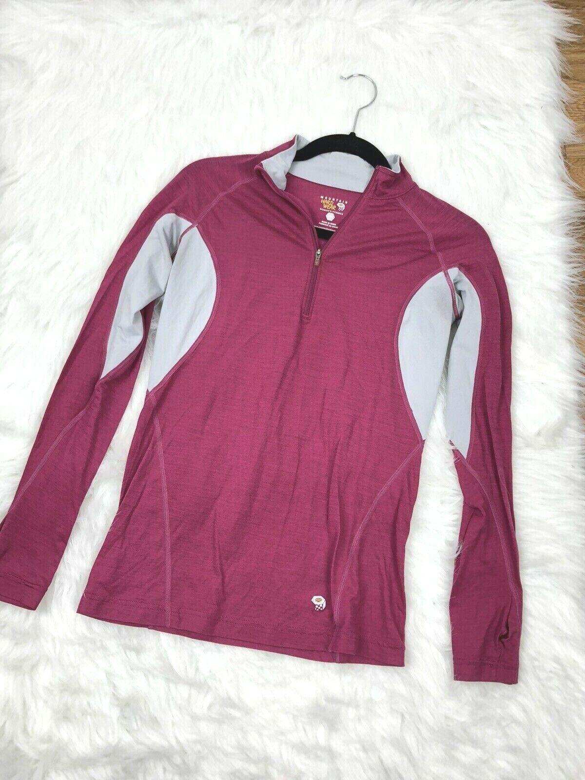 Mountain Hardwear Womens Pullover 1/4 Zip Long Sleeve Top Sm Pink Gray Light