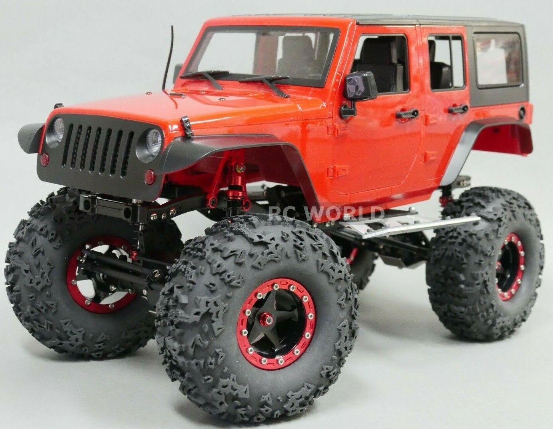 1 10  Scala Camion autorozzeria Jeep Wrangler Rubicon 4 Porta Rigida Corpo Rosso +  sconto di vendita