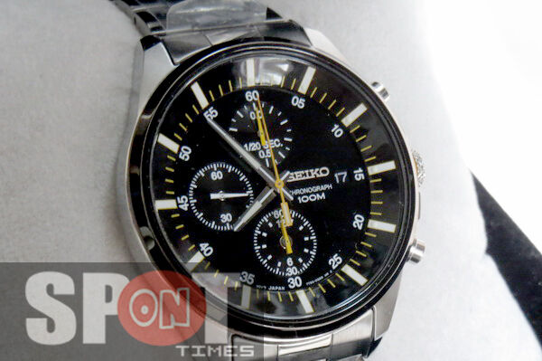 Seiko Black Dial Chronograph Stainless Steel Mens Watch Sndc85