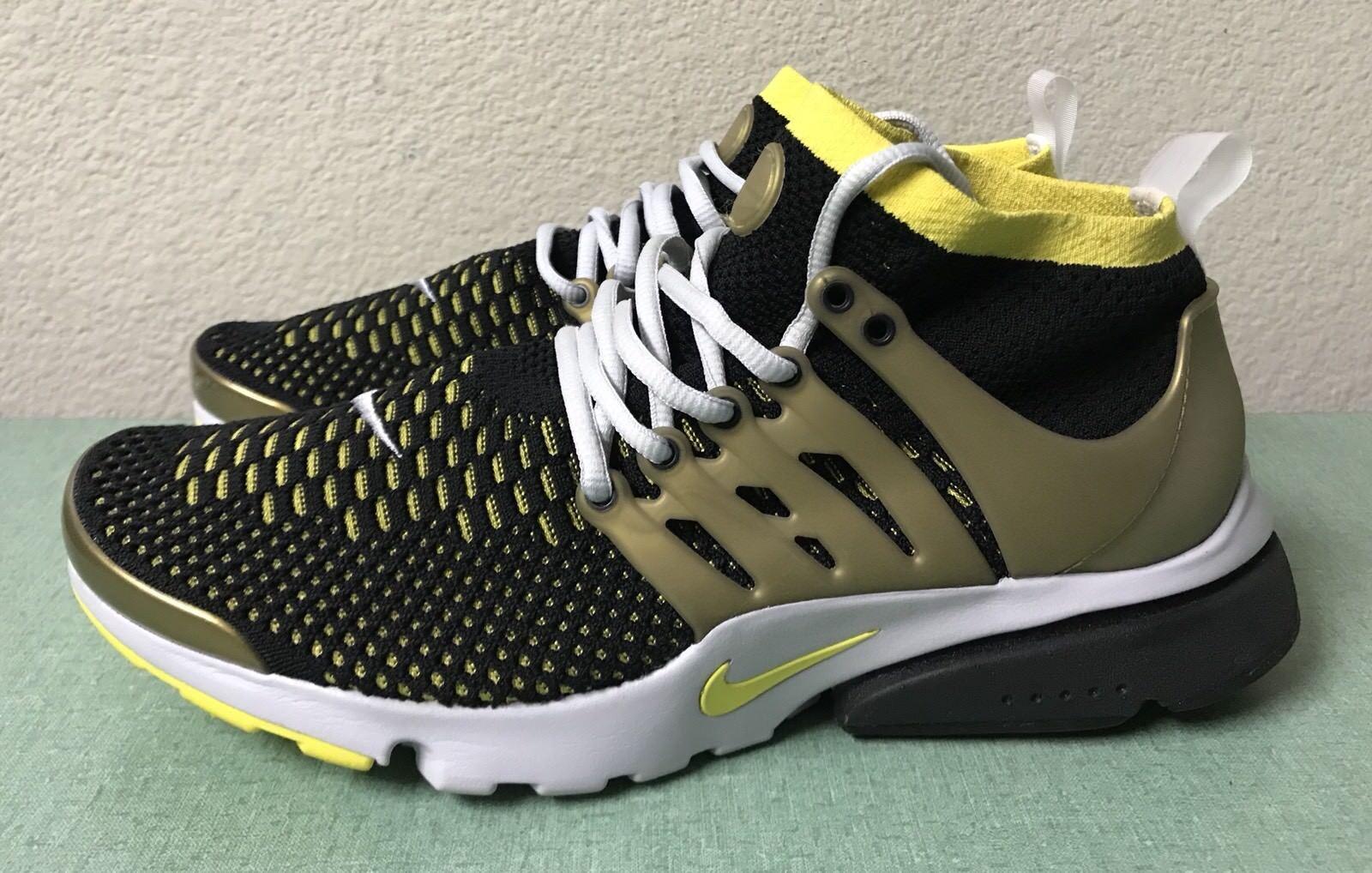 Nike Air Presto Ultra Flyknit Noir Jaune Gold blanc Hommes Sz 9.5 Running Chaussures