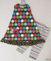 4t Boutique Mis Tee V-us Brown Multi Mod Dot Racerback Dress Capri 2pc Set