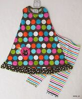 4t Boutique Mis Tee V-us Brown Multi Mod Dot Racerback Dress Capri 2pc Set