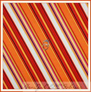 BonEful-Fabric-FQ-Cotton-Quilt-Red-Orange-White-Yellow-Large-Stripe-Flower-Power