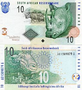 South-Africa-2005-10-Rand-R10-Rhino-Uncirculated-Banknote-x-5-Note-Lot
