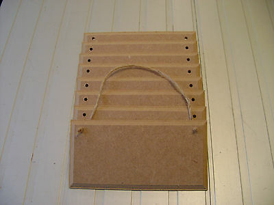 """8)  6"""" x 3"""" MDF WOODEN SIGN PLAQUES WITH OR WITH OUT HOLES BLANKS + JUTE STRING"""