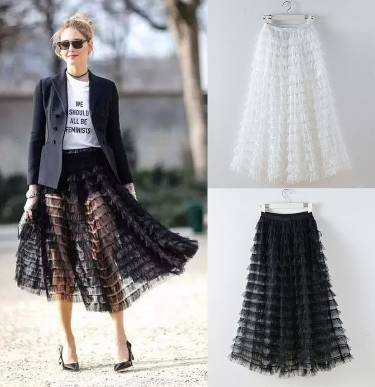 Tierot Ruffle Sheer See-through Mesh Tulle Maxi Lange Full Rock Runway Celebrity